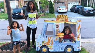 Kids Delivery Food Truck to our Playhouse! kids pretend play