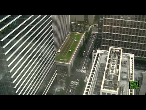 Window cleaners 41 stories up Tokyo, Japan