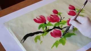 Как рисовать китайские, японские цветы - китайская живопись восточная живопись(В данном видео Вы увидите как мастер восточных техник рисования создает картину в стиле японской или китай..., 2015-03-12T09:37:23.000Z)