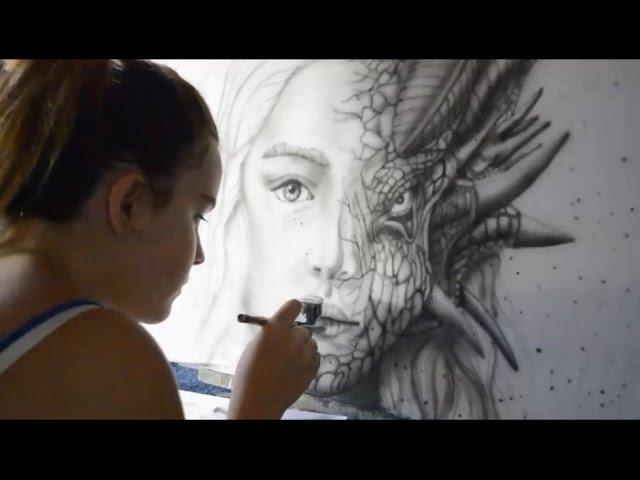 Airbrushing Game of Thrones Daenerys half Dragon art by Riarne