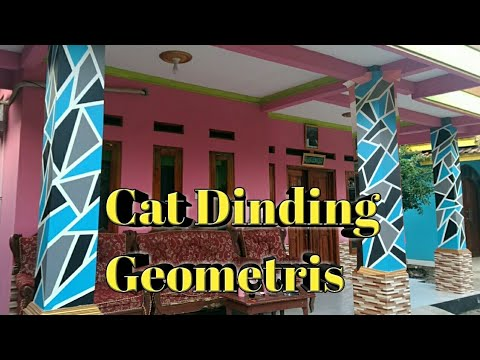 Cat dinding geometris | wall painting | 3d art | design interior