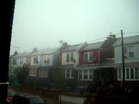 Crazy Weather in NE Philadelphia PA caught on video. Lighting heavy rain thunder high winds.