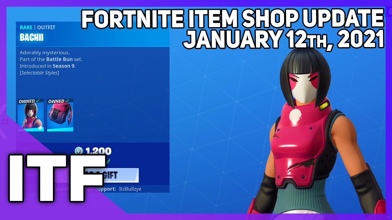 Fortnite Item Shop BACHII IS BACK + UPDATE TOMORROW! [January 12th, 2021] (Fortnite Battle Royale) - download from YouTube for free