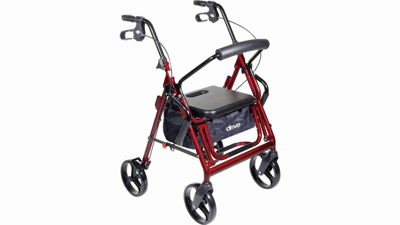 Drive Medical 795 Duet Rollator Walker Transport Chair