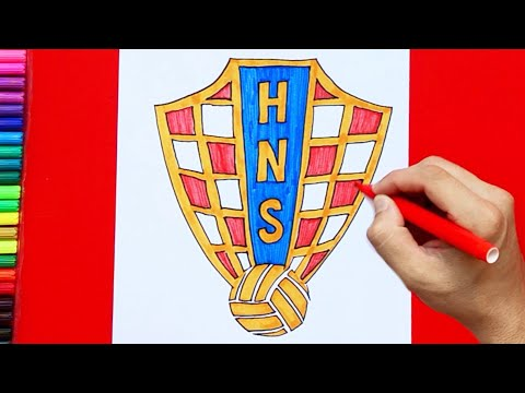 How to draw and color Croatia National Football Team Logo