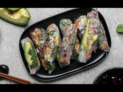 Rice Paper Rolls with Sesame and Chia Crusted Tofu