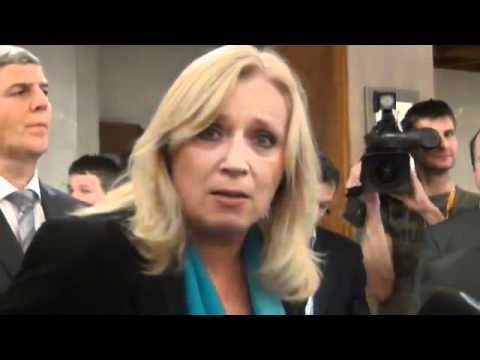 Emotional PM of Slovak Republic Iveta Radicova shortly after downfall