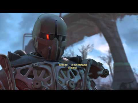 "Fallout 4 - Kat (Little Girl Merchant) with ""Gus"" Protection Robot Introduction Dialogue Sequence"