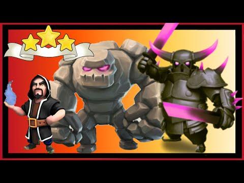 Clash of Clans: ATAQUE MEGA con ayuntamiento 8 🌟🌟🌟 Cómo atacar con GOLEMS, PEKKAS y MAGOS!