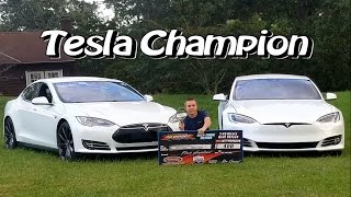 Reactions to a Ludicrous Tesla beating Muscle Cars Drag Racing