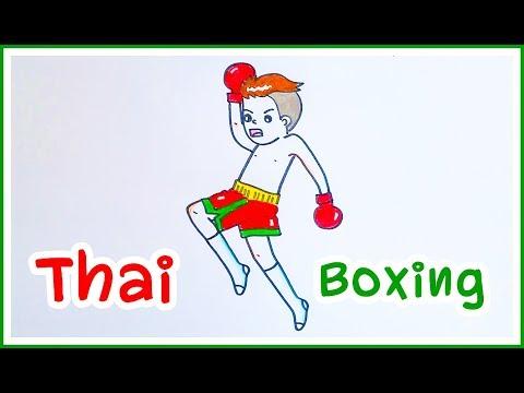 How to Draw Thai boxing easy. วาดรูปมวยไทย ศิลปะป้องกันตัว : lovely art