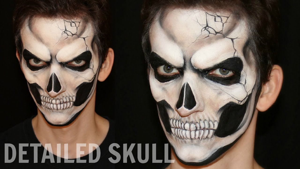 halloween half face paint ideas realistic skull u2014 halloween makeup and face painting tutorial - Halloween Skull Face Paint Ideas
