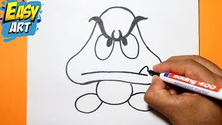 how to draw goomba | como dibujar goomba super  mario bros