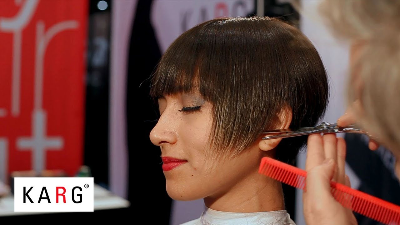 short haircut with strong bangs on coarse, thick hair by karg