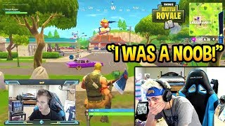 NINJA REACTS TO HIS *FIRST* EVER GAME OF FORTNITE! NOOB? Fortnite SAVAGE & FUNNY Moments thumbnail