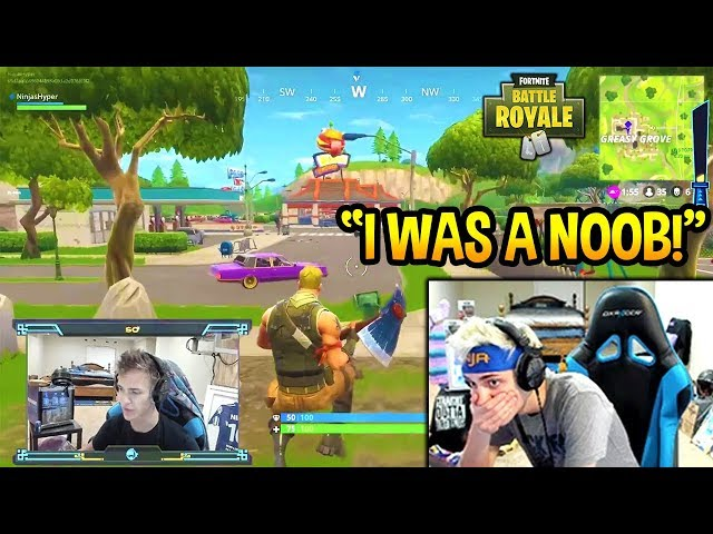 NINJA REACTS TO HIS *FIRST* EVER GAME OF FORTNITE! NOOB? Fortnite SAVAGE & FUNNY Moments