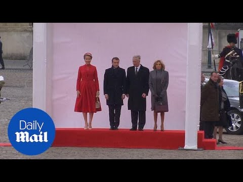 Belgium's Royal Family Welcomes President Macron And First Lady