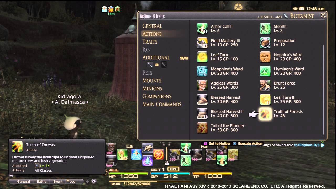 Final Fantasy XIV ARR - How to Change Timer Display on PS3 & Crawler Cacoon  Gathering Spot