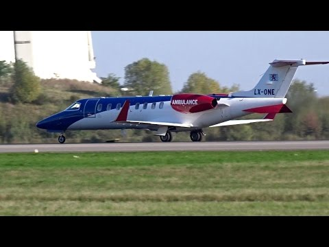 Luxembourg Air Ambulance | LearJet 45XR | Powerful Take Off from Luxembourg Findel Airport