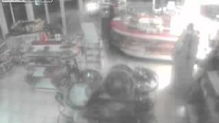 Robber Smashes Car Through Store Entrance Cctv Footage