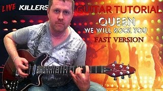 We Will Rock You (fast version) - Queen - guitar tutorial