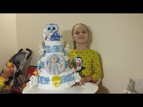ТОРТ из ПАМПЕРСОВ делаю своими руками МК - DIY How to make Baby diapers cake - пошаговая инструкция