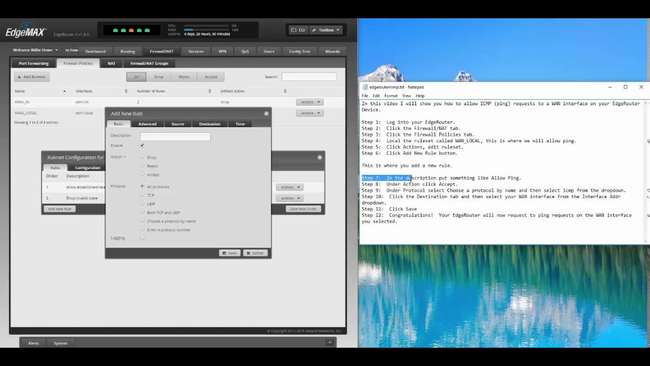 Allow ICMP to WAN Interface of EdgeRouter through GUI