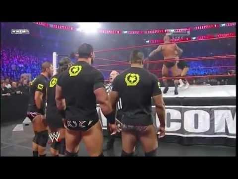Randy Orton throws Alex Riley to the Nexus at Royal Rumble 2011