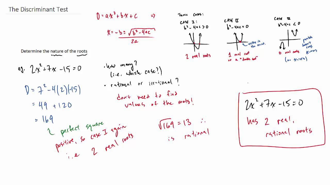 How to use the discriminant test - quadratic equations ...