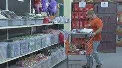 "Teachers shop for free school supplies at the ""Teacher's Desk"""