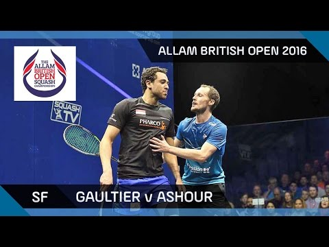 Squash: Gaultier v Ashour - Allam British Open 2016 - Men\'s SF Highlights