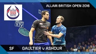 Squash: Gaultier v Ashour - Allam British Open 2016 - Men's SF Highlights