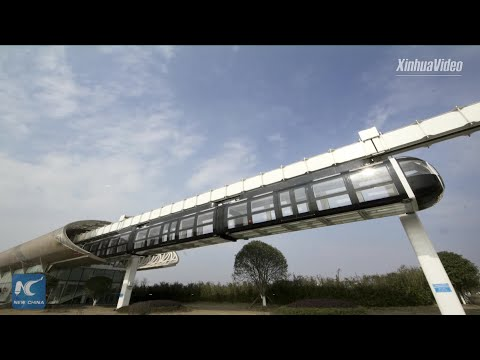 "Transparent ""sky train"" undergoes tests in Chengdu China"