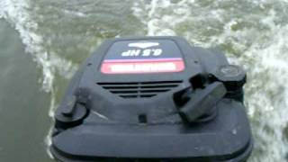 Lawn mower engine powered Boat-Trial run