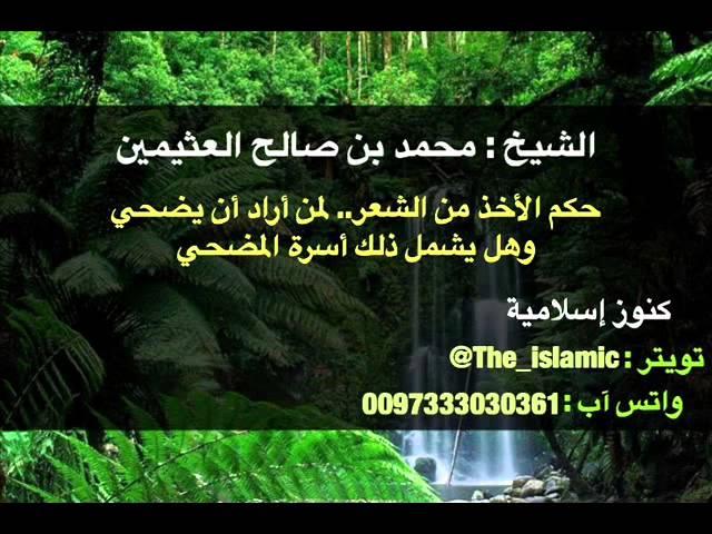 حكم الأخذ من الشعر لمن أراد أن يضحي وهل يشمل ذلك أسرة المضحي الشيخ محمد بن صالح العثيمين Youtube