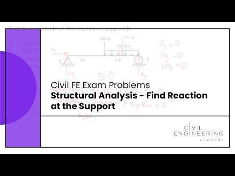 Civil FE Exam - Structural Analysis - Find Reaction at the
