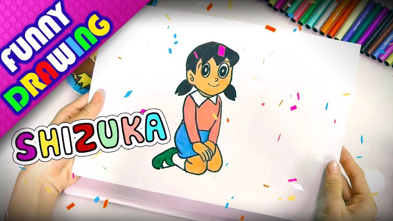 DIY - How to draw and color Shizuka easy - Dạy bé vẽ và tô màu Shizuka