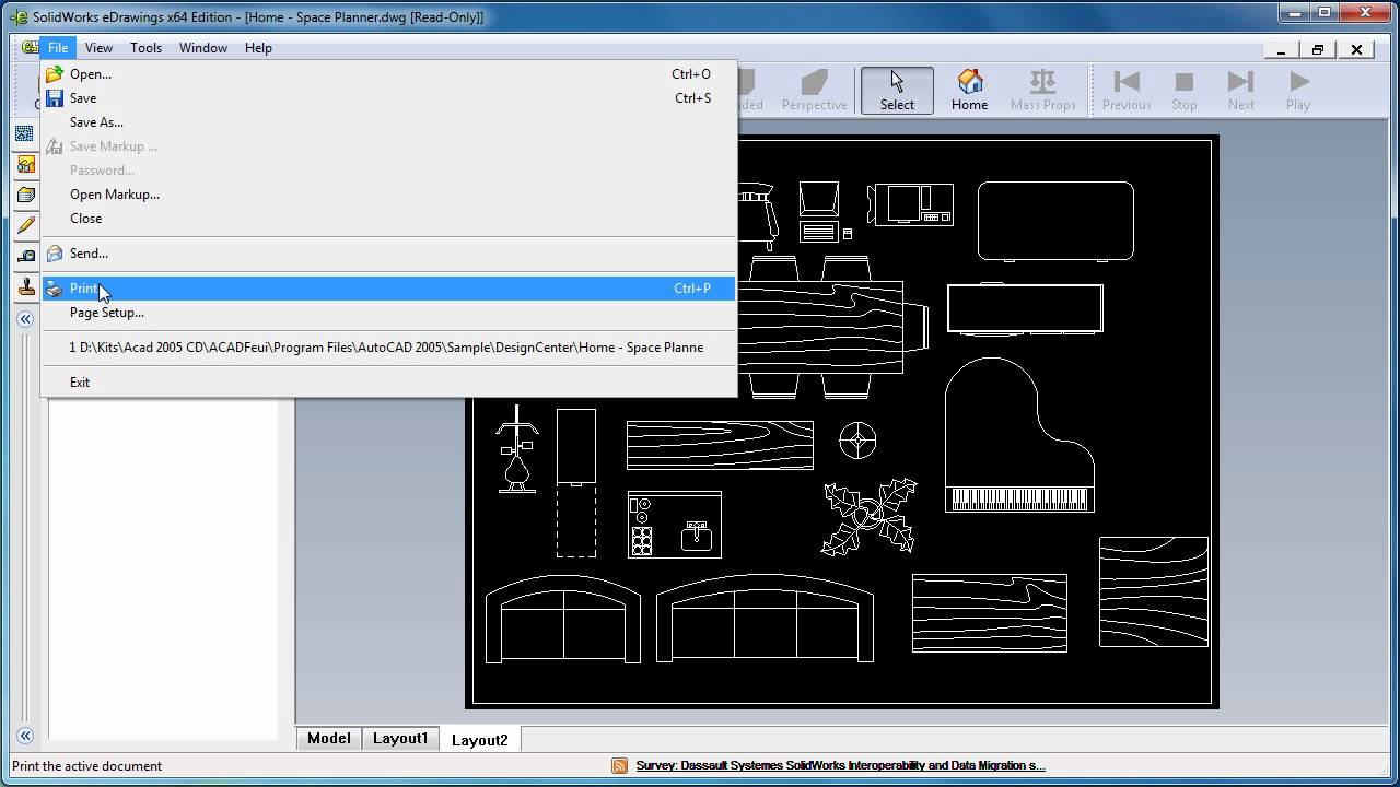 convert dwg to pdf using solidworks edrawings youtube. Black Bedroom Furniture Sets. Home Design Ideas