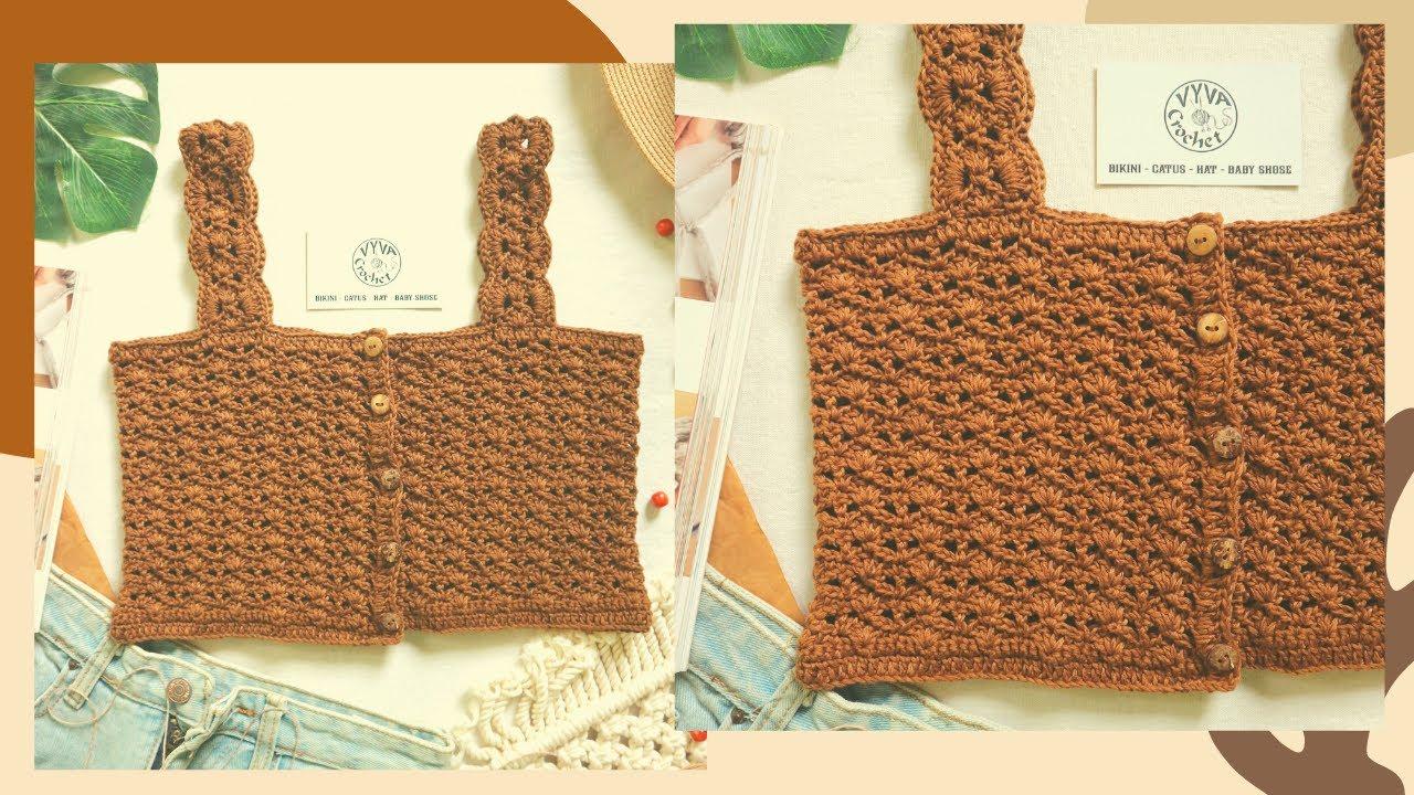 Crochet Croptop| Hướng dẫn móc áo croptop 2 dây cho MÙA HÈ siêu dễ làm | Vyvascrochet