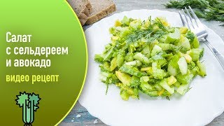 Салат с сельдереем и авокадо — видео рецепт