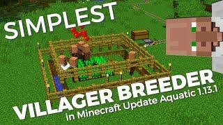 How to make a SIMPLE Villager Breeder in Minecraft 1.13 Update Aquatic | Infinite Villager Breeder