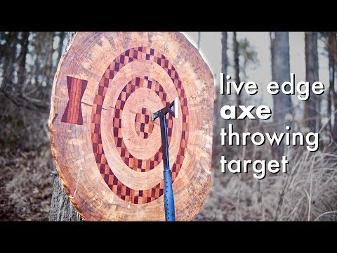 Live Edge Axe Throwing Target with CNC Inlay Bullseye // How To - Woodworking