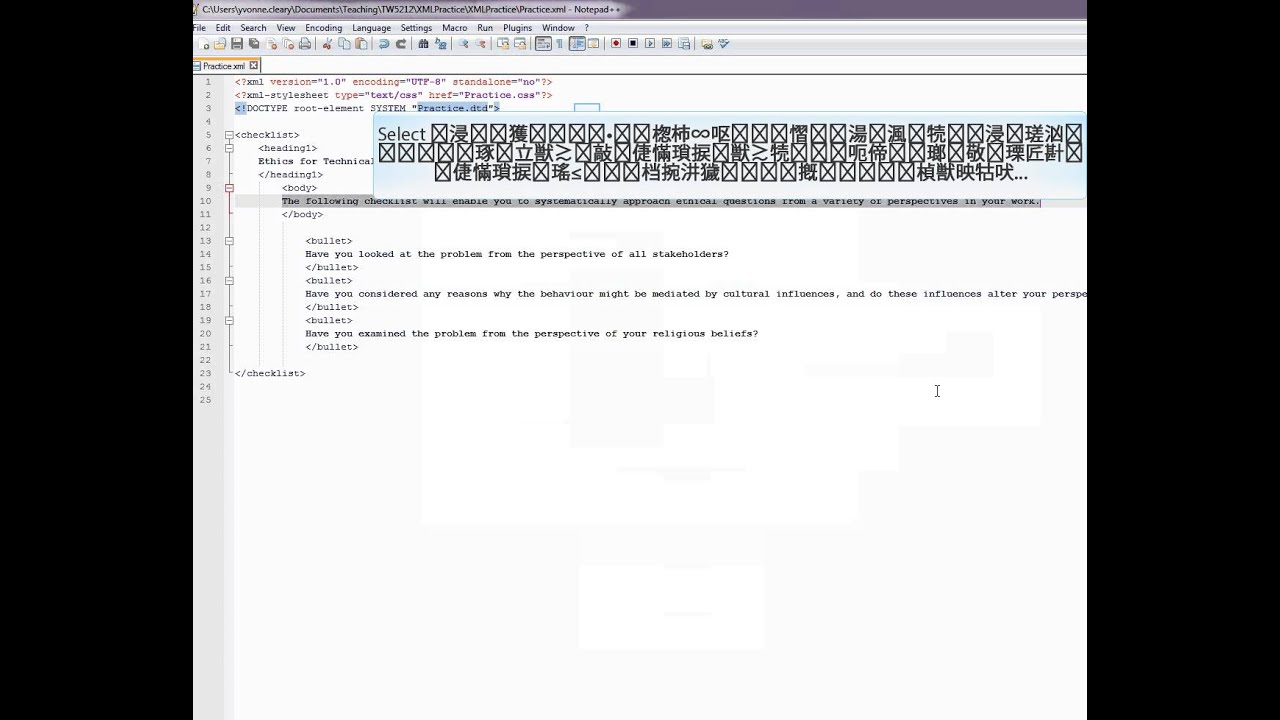 Using Notepad++ to write an XML and CSS file