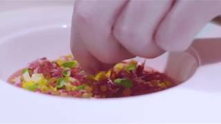 Recipe: Cold strawberry soup, chopped egg, ham olive oil by Adam Handling