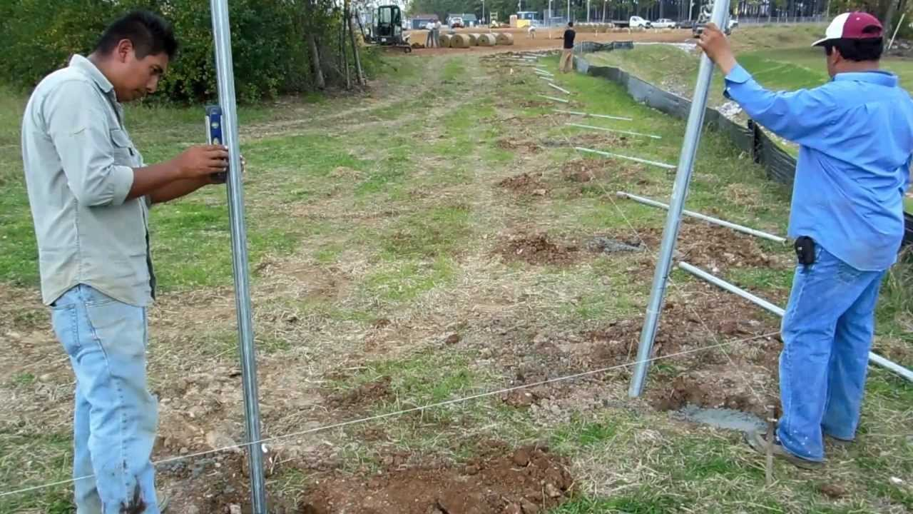 Setting Galvanized Fence Posts Youtube