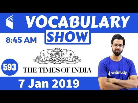 8:45 AM -  The Times of India Vocabulary with Tricks (7 Jan, 2019) | Day #593