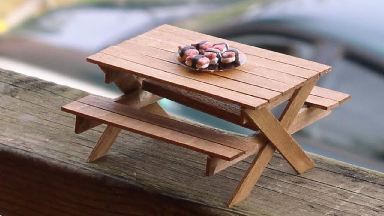 Diy picnic table and bench made out of popsicle sticks What to make out of popsicle sticks