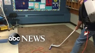School Janitor Vacuums Artistic Designs Into Rugs as Daily Surprise for Kids