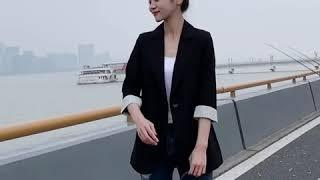 kirahosi 정장 재킷 여성 검은 색 7부 소매 가…