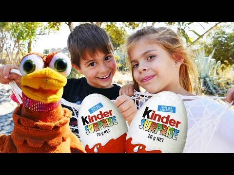 Видео для детей. Игры с курочкой и Киндер сюрпризом